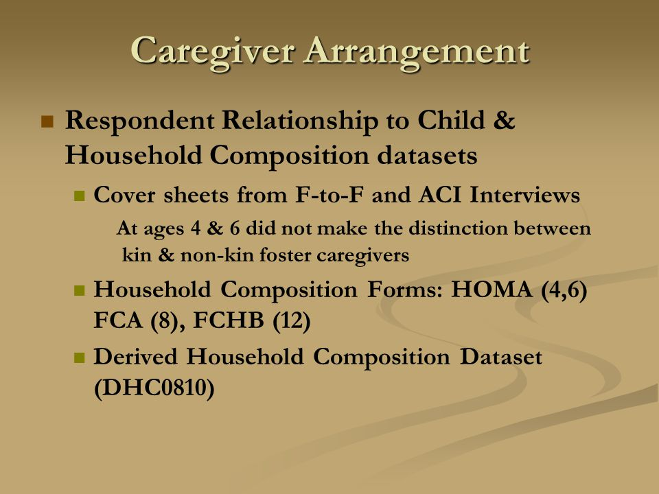 Caregiver Arrangement Respondent Relationship to Child & Household Composition datasets Cover sheets from F-to-F and ACI Interviews At ages 4 & 6 did