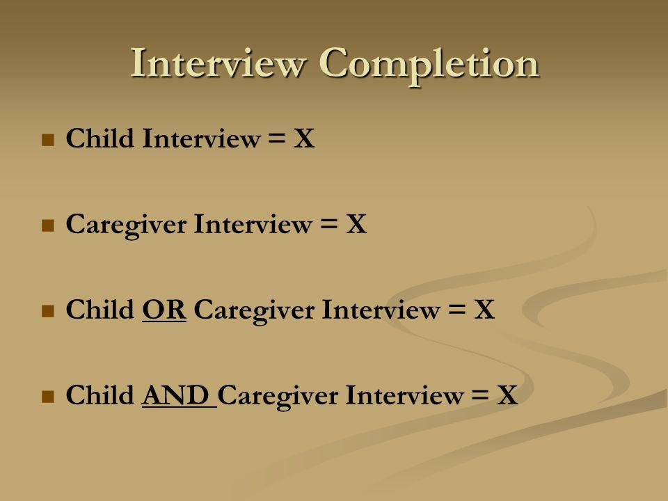 Interview Completion Child Interview = X Caregiver Interview = X Child OR Caregiver Interview = X Child AND Caregiver Interview = X