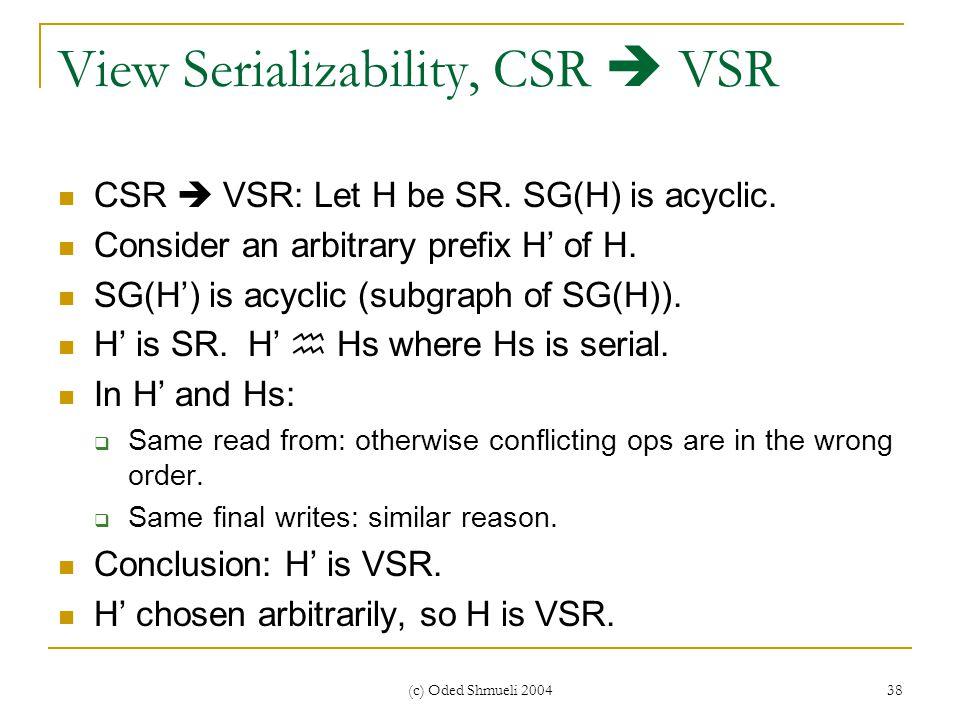 (c) Oded Shmueli 2004 38 View Serializability, CSR  VSR CSR  VSR: Let H be SR.