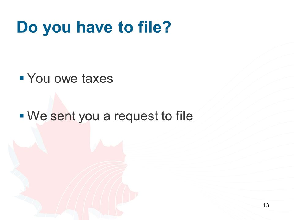 13 Do you have to file?  You owe taxes  We sent you a request to file