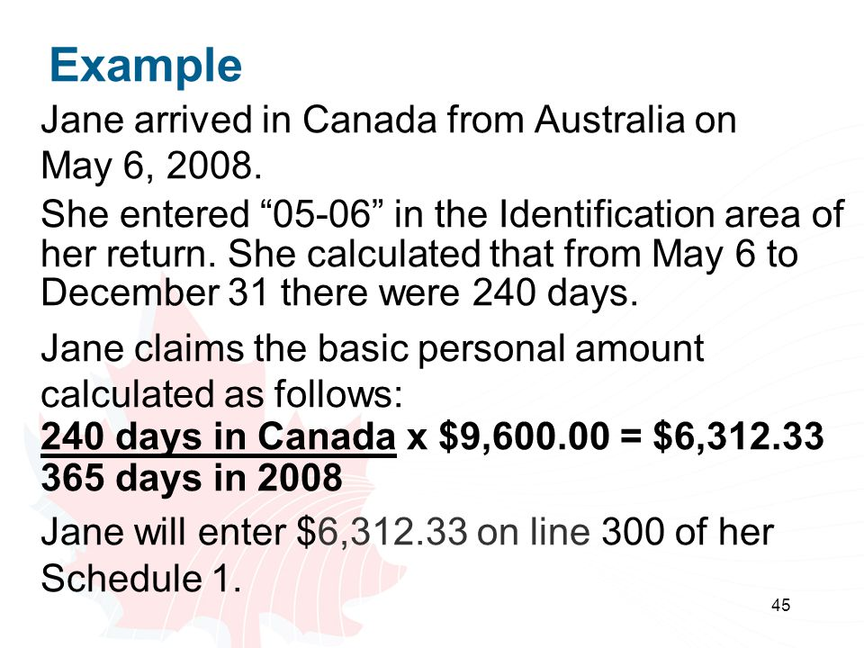 45 Example Jane arrived in Canada from Australia on May 6, 2008.