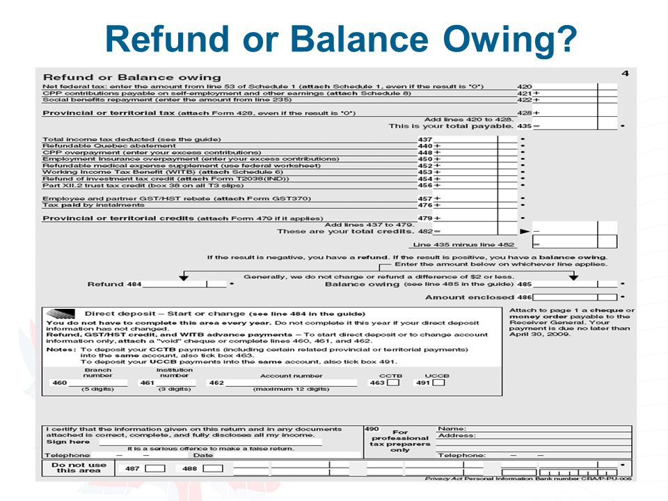 53 Refund or Balance Owing?