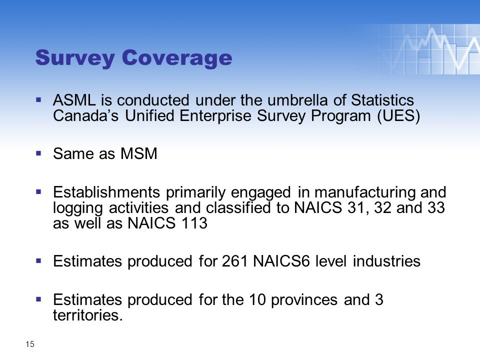 ASML is conducted under the umbrella of Statistics Canada's Unified Enterprise Survey Program (UES)  Same as MSM  Establishments primarily engaged in manufacturing and logging activities and classified to NAICS 31, 32 and 33 as well as NAICS 113  Estimates produced for 261 NAICS6 level industries  Estimates produced for the 10 provinces and 3 territories.