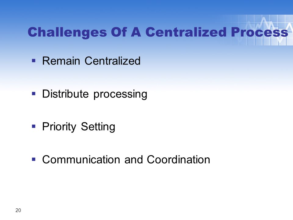 Challenges Of A Centralized Process  Remain Centralized  Distribute processing  Priority Setting  Communication and Coordination 20