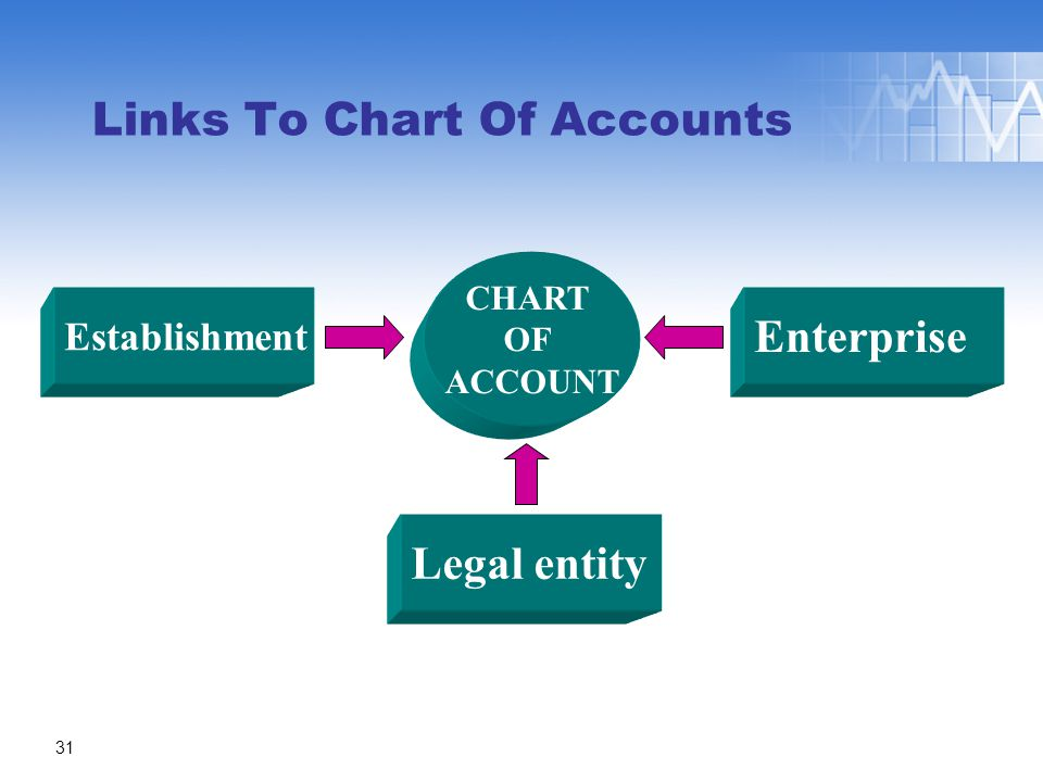 Links To Chart Of Accounts CHART OF ACCOUNT Establishment Legal entity Enterprise 31