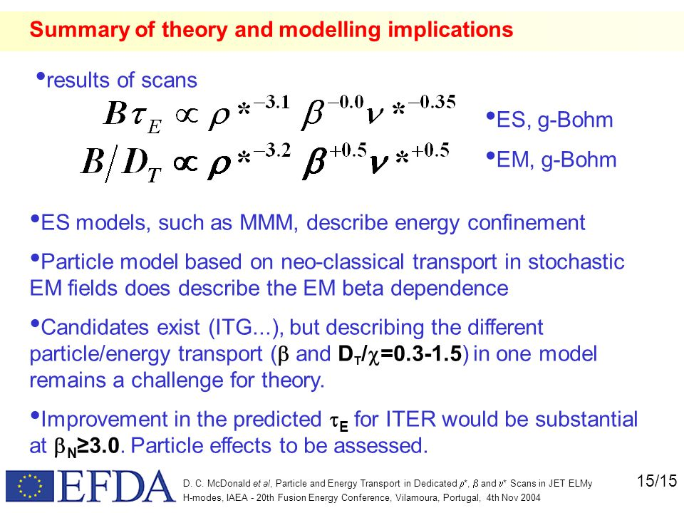 15/15 D. C. McDonald et al, Particle and Energy Transport in Dedicated  *,  and  * Scans in JET ELMy H-modes, IAEA - 20th Fusion Energy Conference,