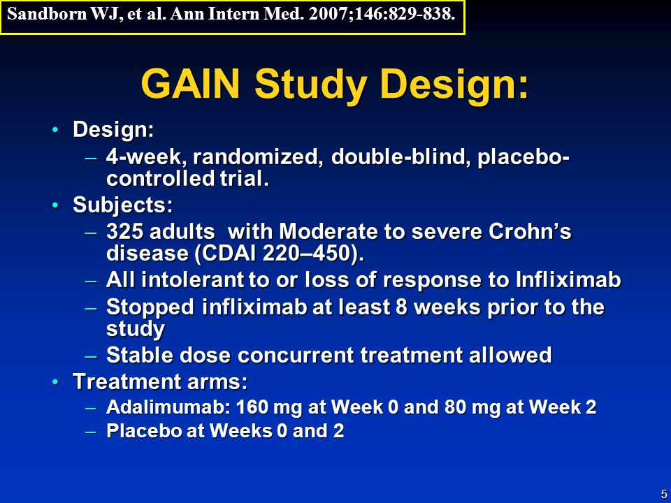 5 GAIN Study Design: Design: Design: – 4-week, randomized, double-blind, placebo- controlled trial. Subjects: Subjects: – 325 adults with Moderate to