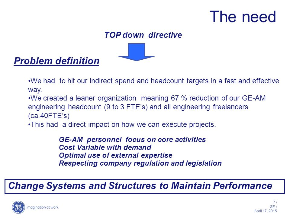 7 / GE / April 17, 2015 The need Problem definition We had to hit our indirect spend and headcount targets in a fast and effective way.