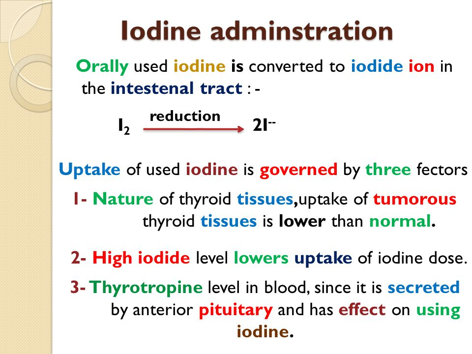 Iodine adminstration Orally used iodine is converted to iodide ion in the intestenal tract : - I 2 2I -- reduction Uptake of used iodine is governed b