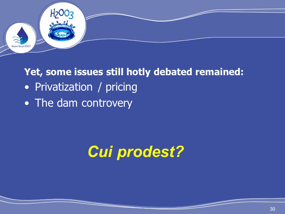 30 Yet, some issues still hotly debated remained: Privatization / pricing The dam controvery Cui prodest?