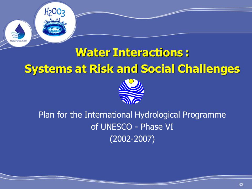 33 Water Interactions : Systems at Risk and Social Challenges Plan for the International Hydrological Programme of UNESCO - Phase VI (2002-2007)