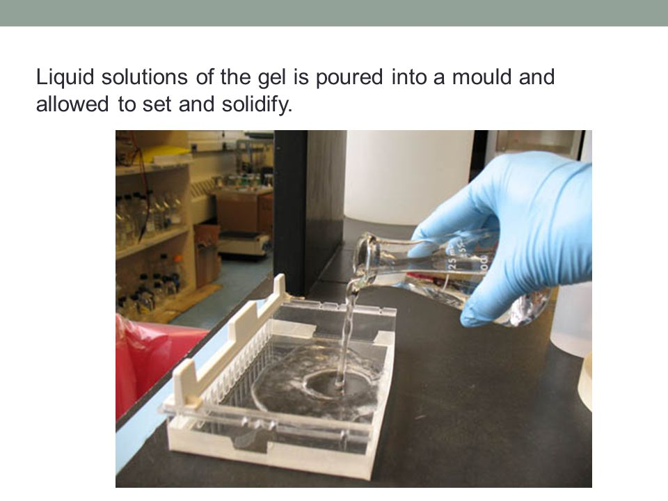 Liquid solutions of the gel is poured into a mould and allowed to set and solidify.