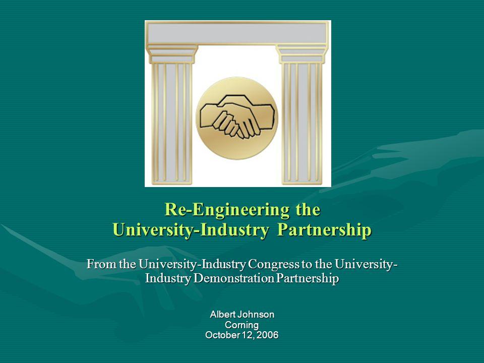 Re-Engineering the University-Industry Partnership From the University-Industry Congress to the University- Industry Demonstration Partnership Albert Johnson Corning October 12, 2006