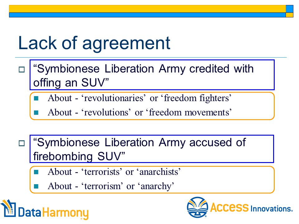 Lack of agreement  Symbionese Liberation Army credited with offing an SUV About - 'revolutionaries' or 'freedom fighters' About - 'revolutions' or 'freedom movements'  Symbionese Liberation Army accused of firebombing SUV About - 'terrorists' or 'anarchists' About - 'terrorism' or 'anarchy'