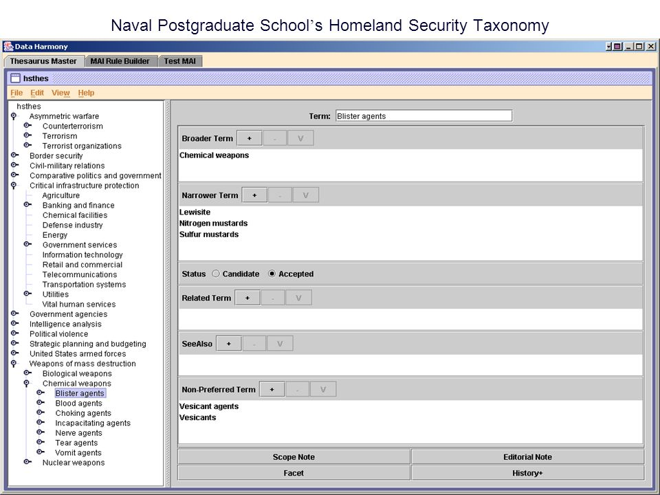 Naval Postgraduate School ' s Homeland Security Taxonomy