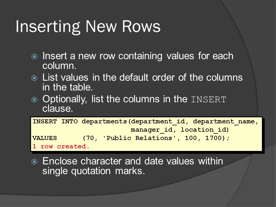 Deleting Rows: Integrity Constraint Error You cannot delete a row that contains a primary key that is used as a foreign key in another table.