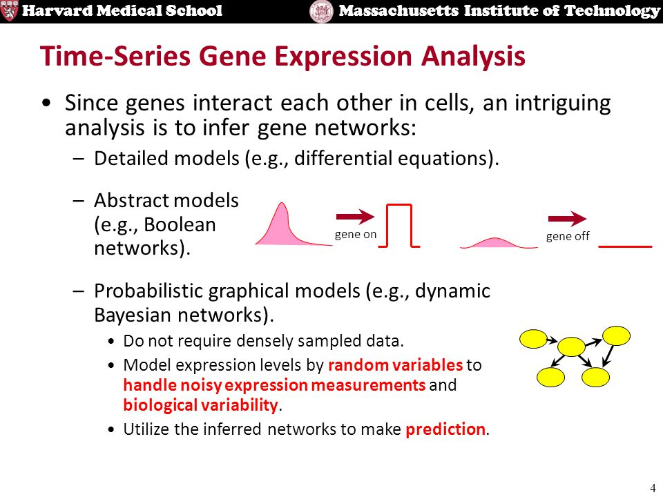 4 Harvard Medical SchoolMassachusetts Institute of Technology Time-Series Gene Expression Analysis Since genes interact each other in cells, an intriguing analysis is to infer gene networks: –Detailed models (e.g., differential equations).