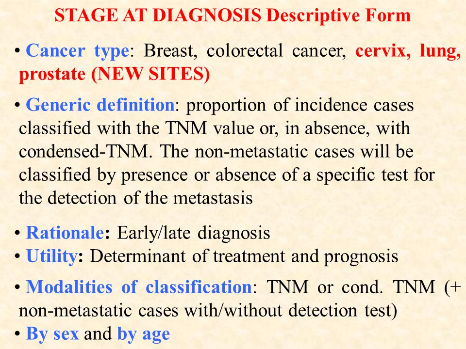Cancer type: Breast, colorectal cancer, cervix, lung, prostate (NEW SITES) Generic definition: proportion of incidence cases classified with the TNM value or, in absence, with condensed-TNM.