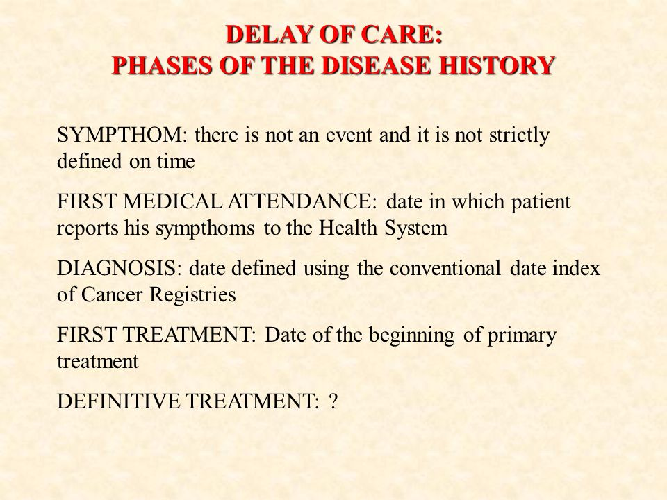 DELAY OF CARE: PHASES OF THE DISEASE HISTORY SYMPTHOM: there is not an event and it is not strictly defined on time FIRST MEDICAL ATTENDANCE: date in which patient reports his sympthoms to the Health System DIAGNOSIS: date defined using the conventional date index of Cancer Registries FIRST TREATMENT: Date of the beginning of primary treatment DEFINITIVE TREATMENT: ?