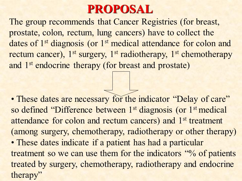 The group recommends that Cancer Registries (for breast, prostate, colon, rectum, lung cancers) have to collect the dates of 1 st diagnosis (or 1 st medical attendance for colon and rectum cancer), 1 st surgery, 1 st radiotherapy, 1 st chemotherapy and 1 st endocrine therapy (for breast and prostate)PROPOSAL These dates are necessary for the indicator Delay of care so defined Difference between 1 st diagnosis (or 1 st medical attendance for colon and rectum cancers) and 1 st treatment (among surgery, chemotherapy, radiotherapy or other therapy) These dates indicate if a patient has had a particular treatment so we can use them for the indicators % of patients treated by surgery, chemotherapy, radiotherapy and endocrine therapy