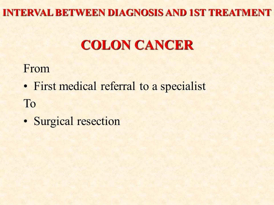 COLON CANCER From First medical referral to a specialist To Surgical resection INTERVAL BETWEEN DIAGNOSIS AND 1ST TREATMENT