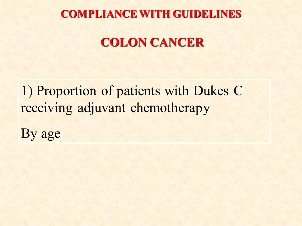 COLON CANCER 1) Proportion of patients with Dukes C receiving adjuvant chemotherapy By age COMPLIANCE WITH GUIDELINES
