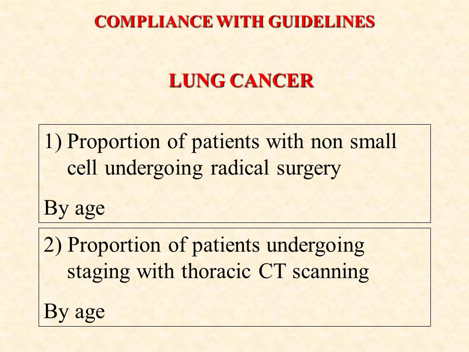LUNG CANCER 1)Proportion of patients with non small cell undergoing radical surgery By age 2) Proportion of patients undergoing staging with thoracic CT scanning By age COMPLIANCE WITH GUIDELINES