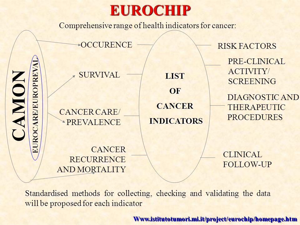 Comprehensive range of health indicators for cancer: LISTOFCANCER INDICATORS INDICATORS RISK FACTORS PRE-CLINICAL ACTIVITY/ SCREENING CLINICAL FOLLOW-UP DIAGNOSTIC AND THERAPEUTIC PROCEDURES CANCER RECURRENCE AND MORTALITY CANCER CARE/ PREVALENCE SURVIVAL OCCURENCE Standardised methods for collecting, checking and validating the data will be proposed for each indicator EUROCHIP CAMON EUROCARE/EUROPREVAL Www.istitutotumori.mi.it/project/eurochip/homepage.htm