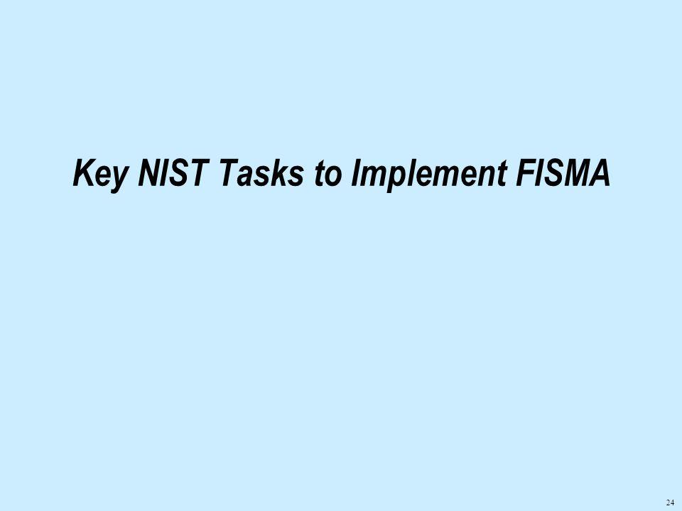 24 Key NIST Tasks to Implement FISMA