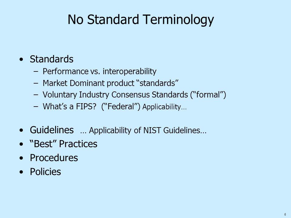 "6 No Standard Terminology Standards –Performance vs. interoperability –Market Dominant product ""standards"" –Voluntary Industry Consensus Standards (""f"