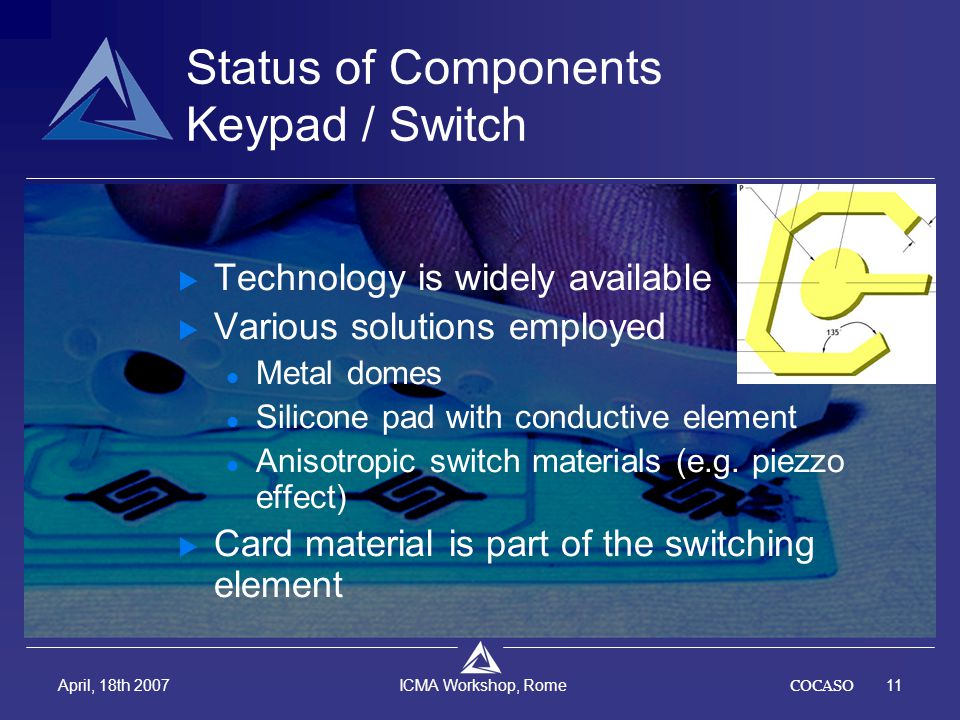 COCASO11 April, 18th 2007 ICMA Workshop, Rome Status of Components Keypad / Switch  Technology is widely available  Various solutions employed Metal