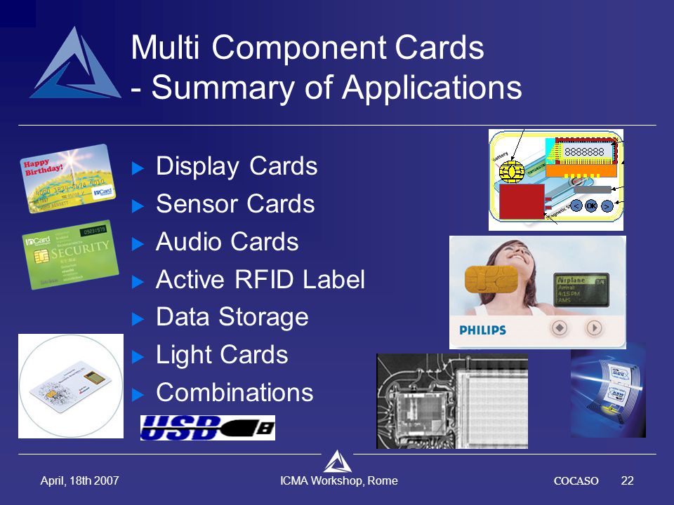 COCASO22 April, 18th 2007 ICMA Workshop, Rome Multi Component Cards - Summary of Applications  Display Cards  Sensor Cards  Audio Cards  Active RF