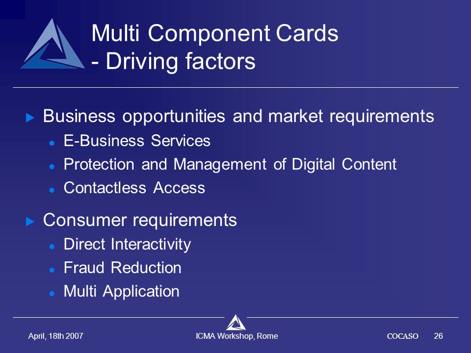 COCASO26 April, 18th 2007 ICMA Workshop, Rome Multi Component Cards - Driving factors  Business opportunities and market requirements E-Business Serv