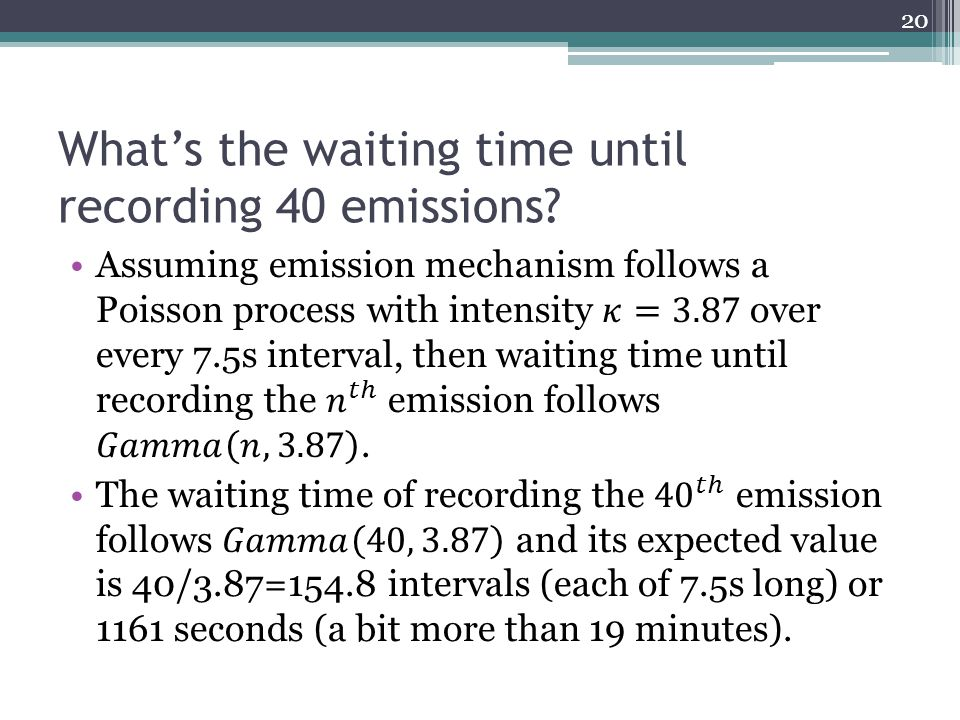 What's the waiting time until recording 40 emissions 20