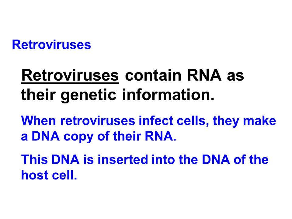 Retroviruses Retroviruses contain RNA as their genetic information. When retroviruses infect cells, they make a DNA copy of their RNA. This DNA is ins