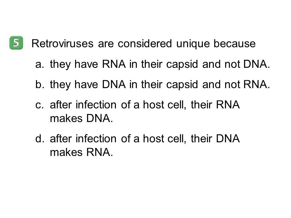 19–2 Retroviruses are considered unique because a.they have RNA in their capsid and not DNA. b.they have DNA in their capsid and not RNA. c.after infe