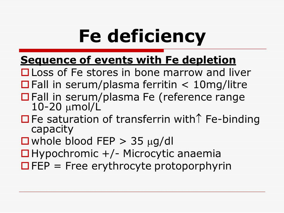 Fe deficiency Sequence of events with Fe depletion  Loss of Fe stores in bone marrow and liver  Fall in serum/plasma ferritin < 10mg/litre  Fall in serum/plasma Fe (reference range 10-20 mol/L  Fe saturation of transferrin with Fe-binding capacity  whole blood FEP > 35 g/dl  Hypochromic +/- Microcytic anaemia  FEP = Free erythrocyte protoporphyrin