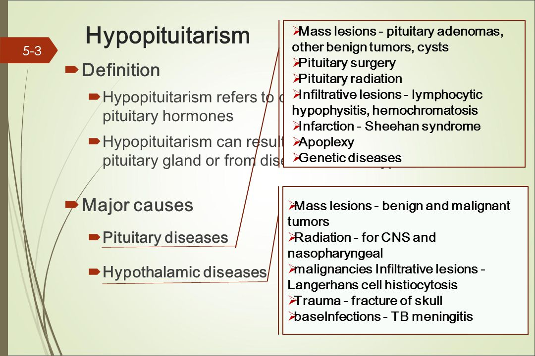 Hypopituitarism  Definition  Hypopituitarism refers to decreased secretion of pituitary hormones  Hypopituitarism can result from diseases of the pituitary gland or from diseases of the hypothalamus.