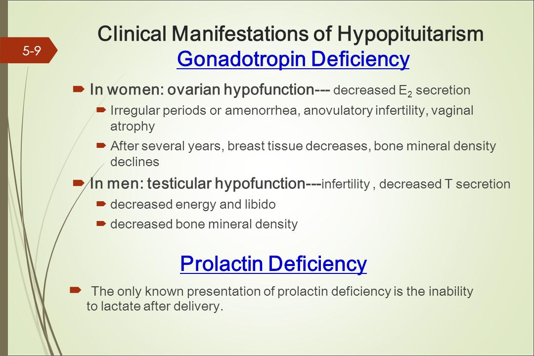 Clinical Manifestations of Hypopituitarism Gonadotropin Deficiency  In women: ovarian hypofunction--- decreased E 2 secretion  Irregular periods or