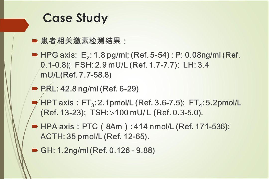 Case Study  患者相关激素检测结果:  HPG axis: E 2 : 1.8 pg/ml; (Ref.