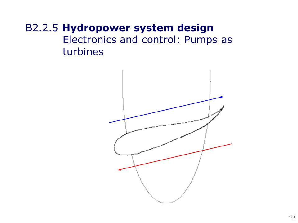 45 B2.2.5 Hydropower system design Electronics and control: Pumps as turbines