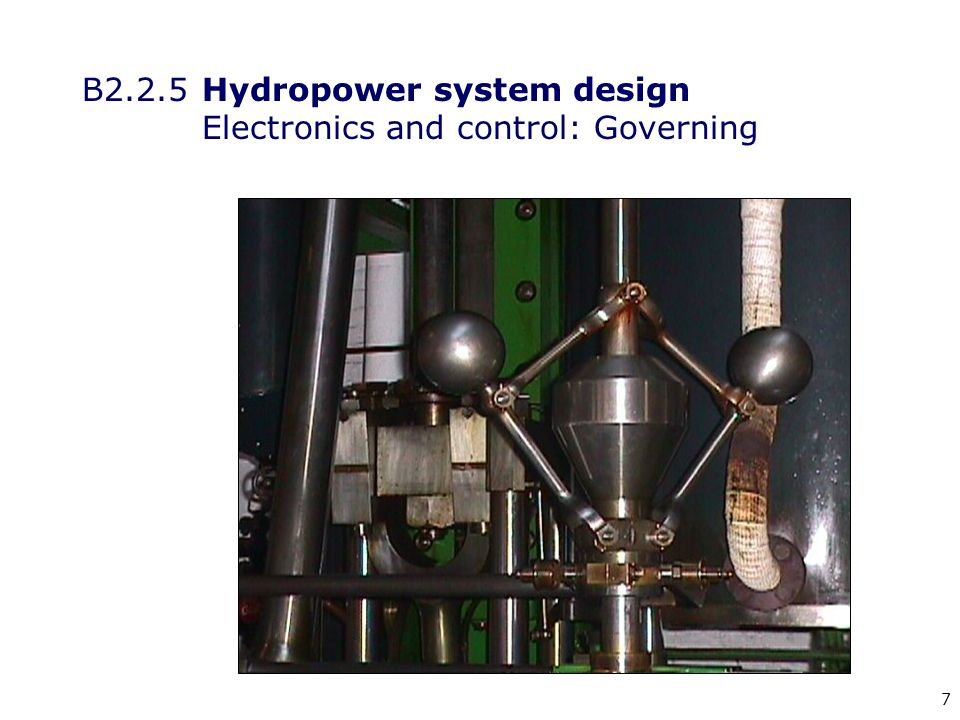 18 B2.2.5 Hydropower system design Electronics and control: Flow control