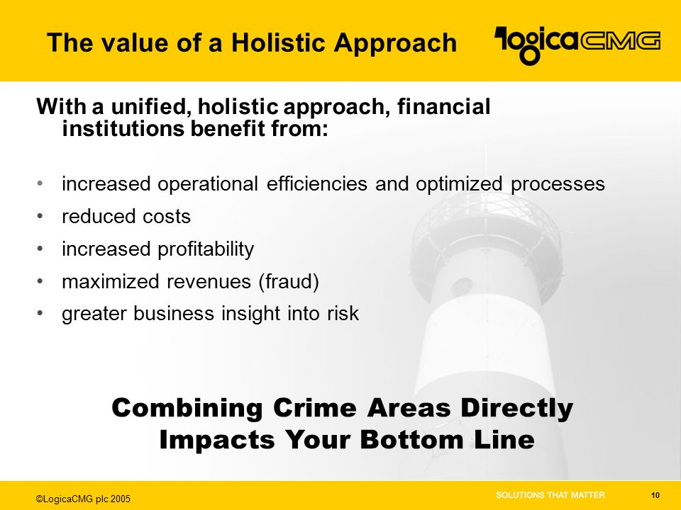 ©LogicaCMG plc 2005 10 With a unified, holistic approach, financial institutions benefit from: increased operational efficiencies and optimized processes reduced costs increased profitability maximized revenues (fraud) greater business insight into risk Combining Crime Areas Directly Impacts Your Bottom Line The value of a Holistic Approach