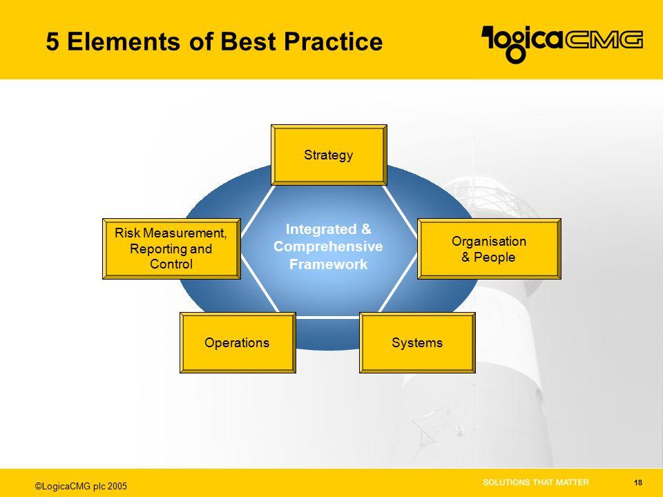 ©LogicaCMG plc 2005 18 5 Elements of Best Practice Integrated & Comprehensive Framework Strategy Organisation & People SystemsOperations Risk Measurem