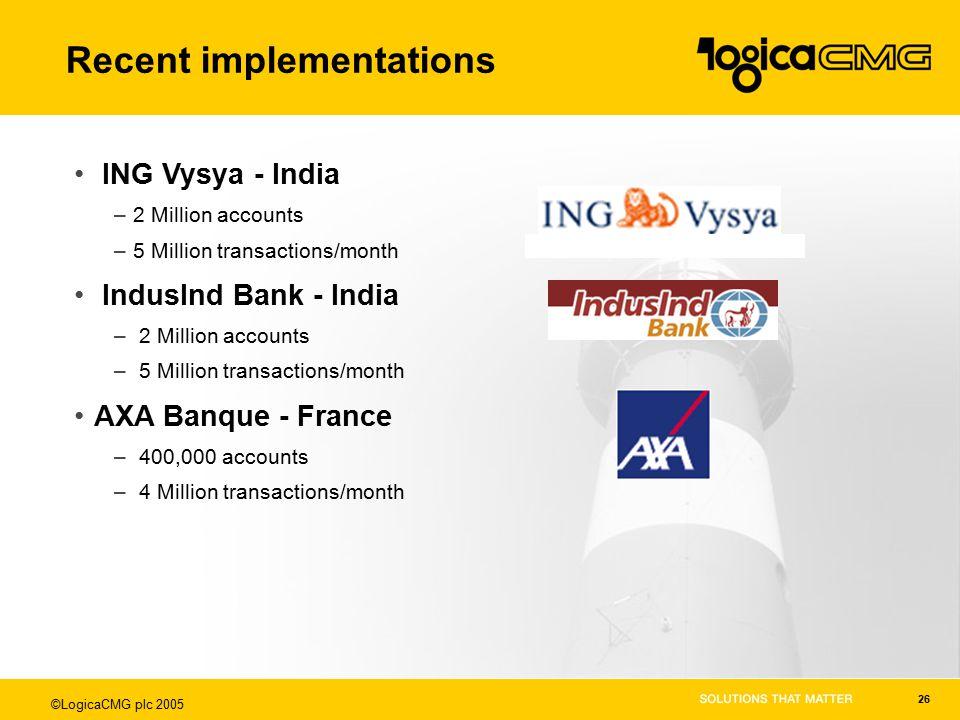 ©LogicaCMG plc 2005 26 ING Vysya - India –2 Million accounts –5 Million transactions/month IndusInd Bank - India – 2 Million accounts – 5 Million transactions/month AXA Banque - France – 400,000 accounts – 4 Million transactions/month Recent implementations