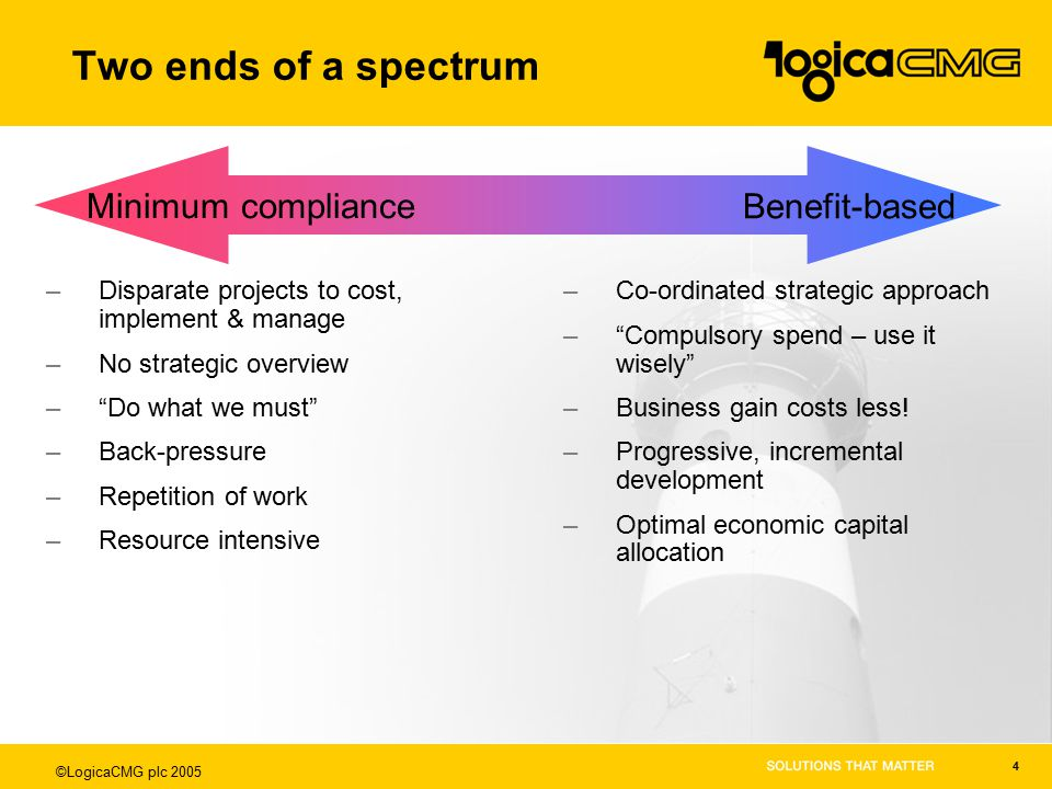 ©LogicaCMG plc 2005 4 Two ends of a spectrum –Disparate projects to cost, implement & manage –No strategic overview – Do what we must –Back-pressure –Repetition of work –Resource intensive –Co-ordinated strategic approach – Compulsory spend – use it wisely –Business gain costs less.