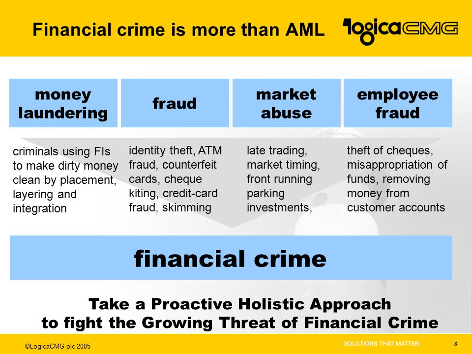 ©LogicaCMG plc 2005 8 financial crime money laundering criminals using FIs to make dirty money clean by placement, layering and integration fraud identity theft, ATM fraud, counterfeit cards, cheque kiting, credit-card fraud, skimming market abuse late trading, market timing, front running parking investments, employee fraud theft of cheques, misappropriation of funds, removing money from customer accounts Take a Proactive Holistic Approach to fight the Growing Threat of Financial Crime Financial crime is more than AML