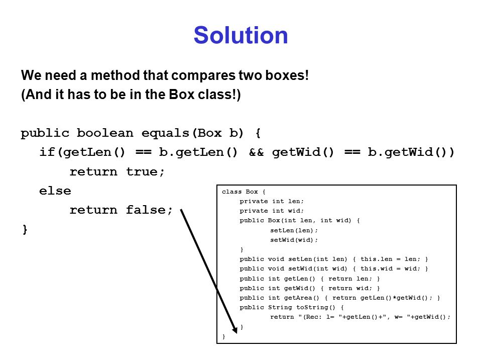 Solution We need a method that compares two boxes.