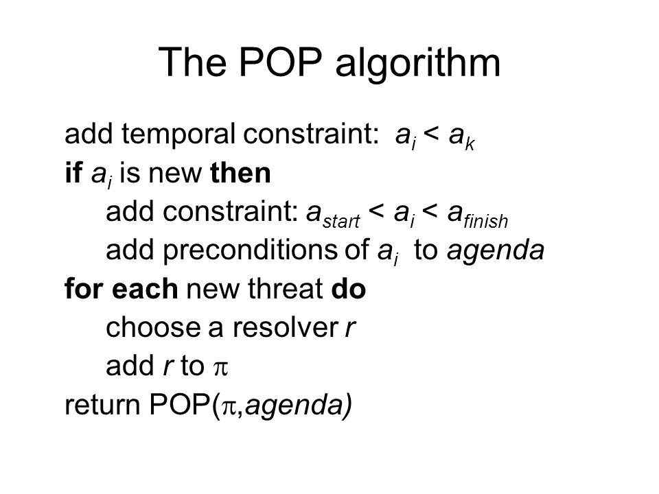 The POP algorithm add temporal constraint: a i < a k if a i is new then add constraint: a start < a i < a finish add preconditions of a i to agenda for each new threat do choose a resolver r add r to  return POP( ,agenda)