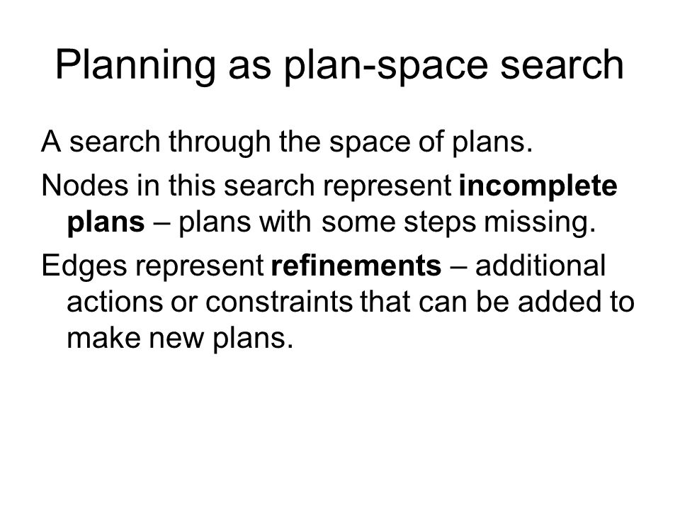 Planning as plan-space search A search through the space of plans.